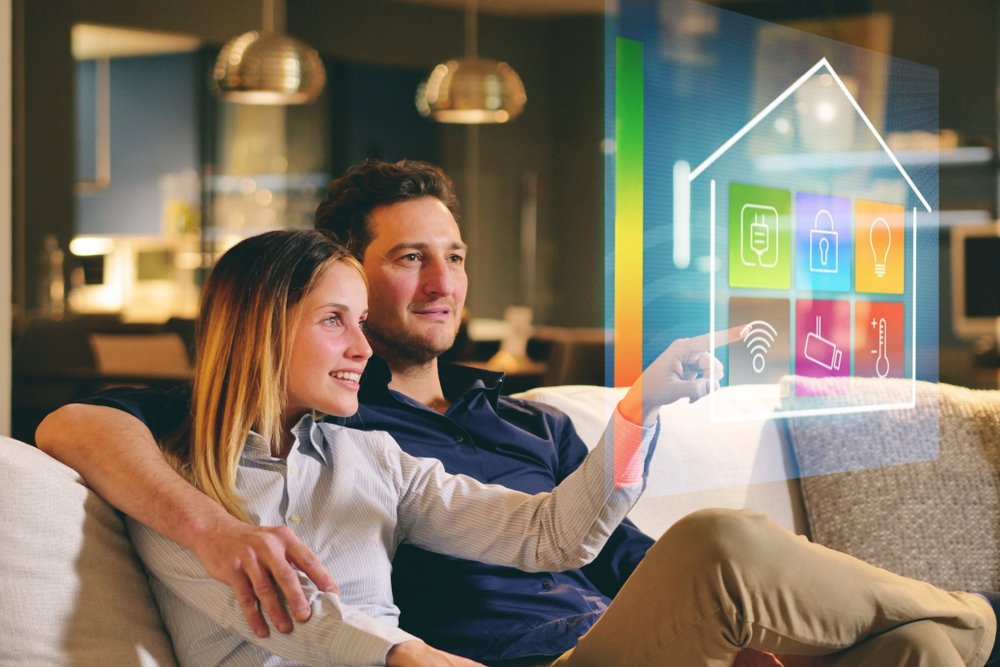 smarthome couple on the couch