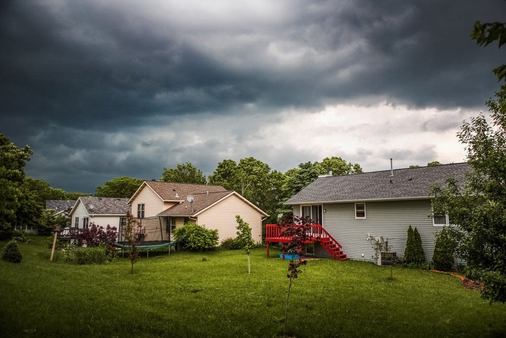 homes in stormy weather